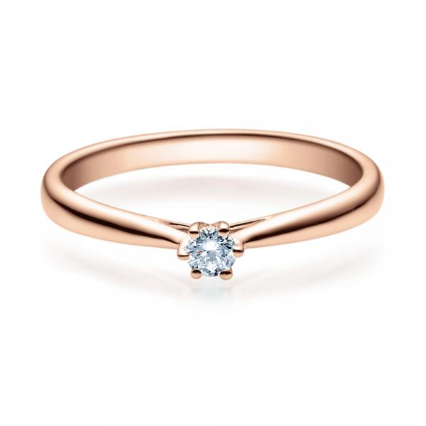 Verlobungsring 18007 Rotgold Solitär Ring 0,100 ct. tw/si