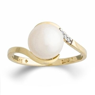 Ring Gelbgold 585 Süßwasser-Perle Brillant PDO K11749G