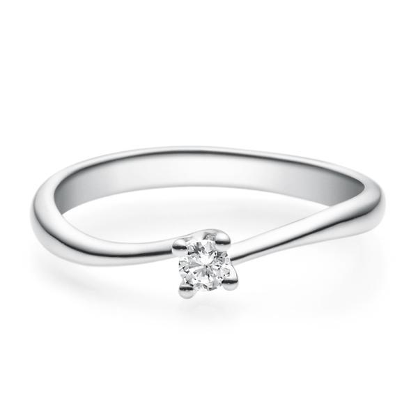 Verlobungsring 18011 Weißgold Solitär Ring 0.100 ct.