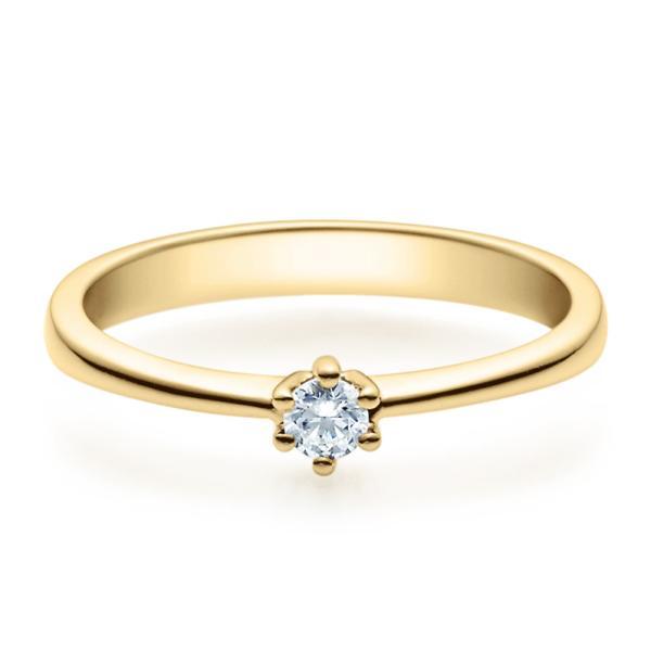 Verlobungsring 18001 Gelbgold Solitär Ring 0.100 ct.