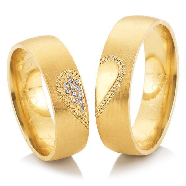 Trauringe Gelbgold Joy 48/04527 & 48/04528 Herz Perlen Brillanten