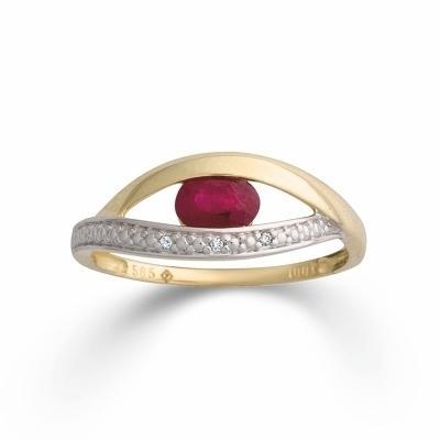 Ring Gelbgold 585 Rubin Brillant K11743