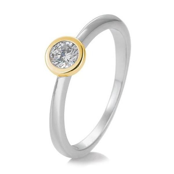 Ring 41/85130 Bicolor Weißgold Gelbgold 585 Brillant