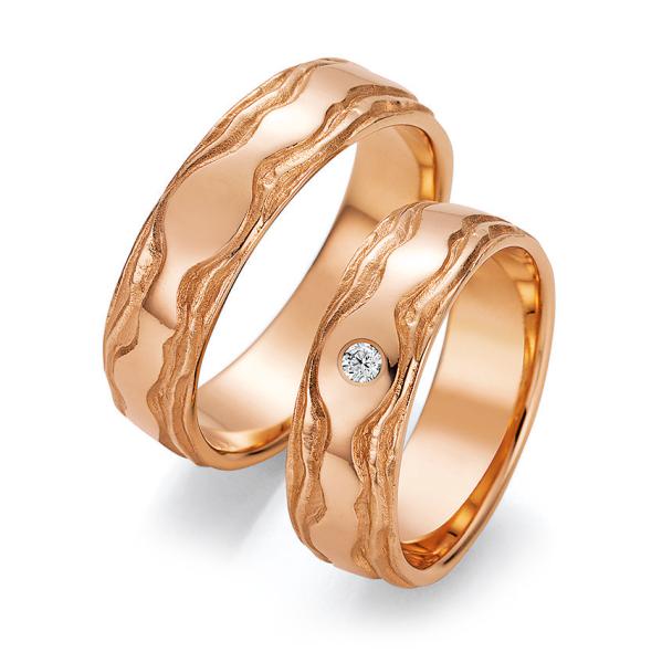 Trauringe Roségold 66/52150 & 66/52160 Eheringe Gold strukturiert