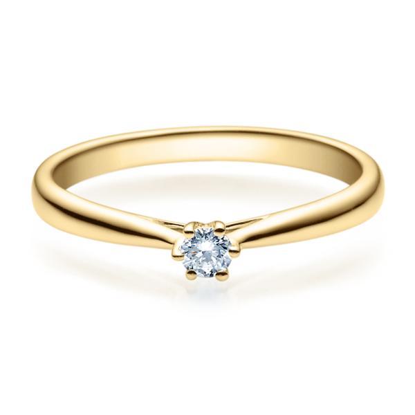 Verlobungsring 18007 Gelbgold Solitär Ring 0,100 ct. tw/si