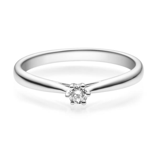 Verlobungsring 18007 Platin 950 Solitär Ring 0,100 ct. tw/si