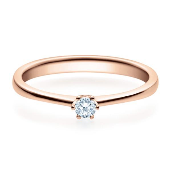 Verlobungsring 18016 Rotgold Solitär Ring 0.100 ct.