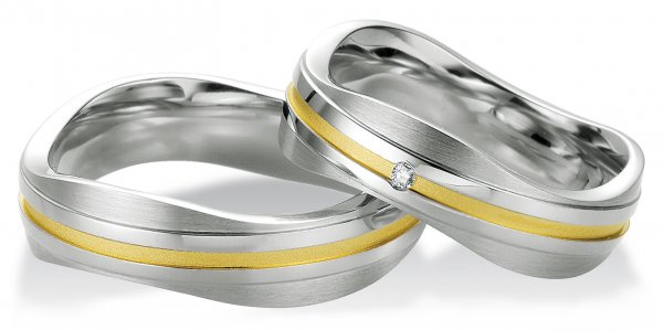 Trauringe Partnerringe Silber 925 Gelbgoldplattierung BR 48/08033