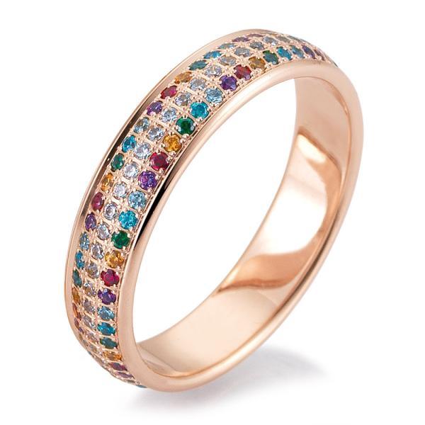 Verlobungsring Rotgold 48/06465 mit farbigen Brillanten