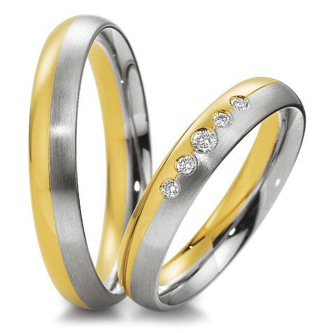 Trauringe 48/04043 & 48/04044 Gelbgold & Weißgold