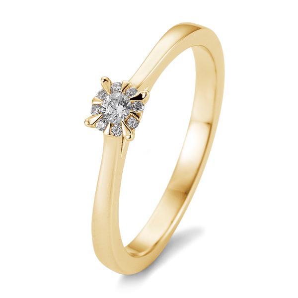 Solitär Ring Gelbgold 585 - 0,104 ct - TRS05BR763G