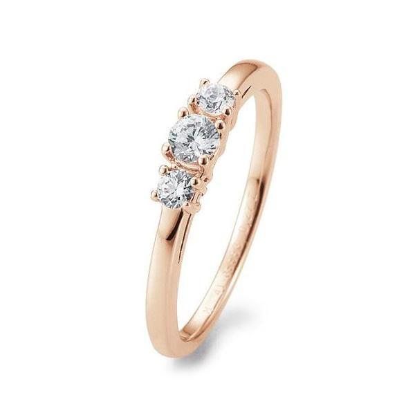 Verlobungsring Rotgold 585 Brillant 3 Steine Krappenfassung 41/05668 / 0.270 ct. w/si