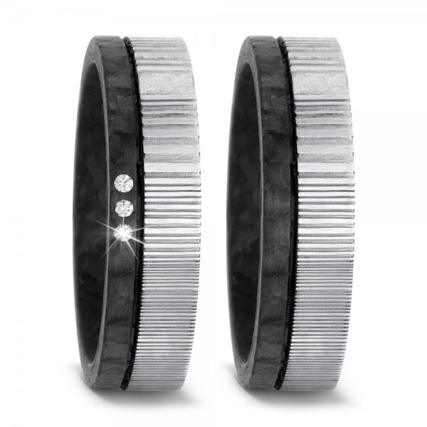 Trauringe aus Carbon & Damaszener Stahl - TRS52TF540