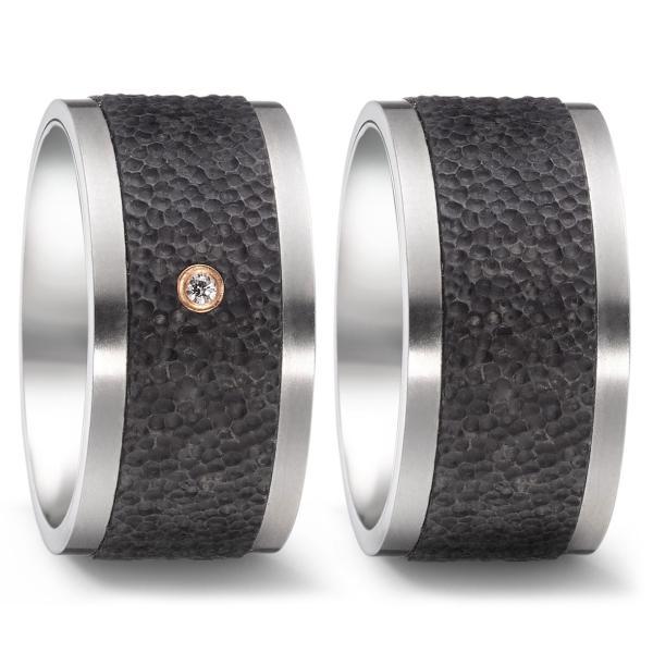 Trauringe Carbon Titan Rotgold 750 Brillant TF 52544