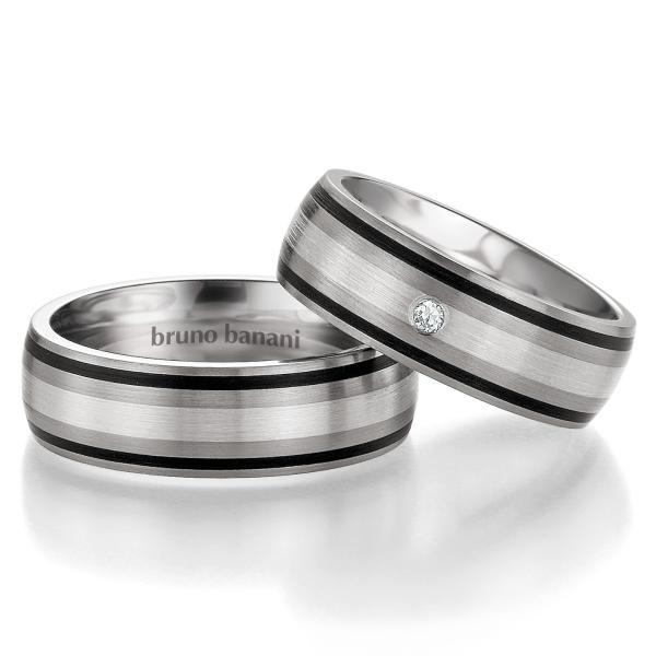 Partnerringe Titan Silber 42/83190 & 44/83191 Zirkonia