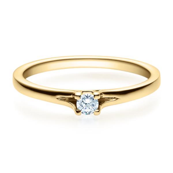 Rubin Verlobungsring 18020 Gelbgold Solitär Ring 0,100 ct. tw/si