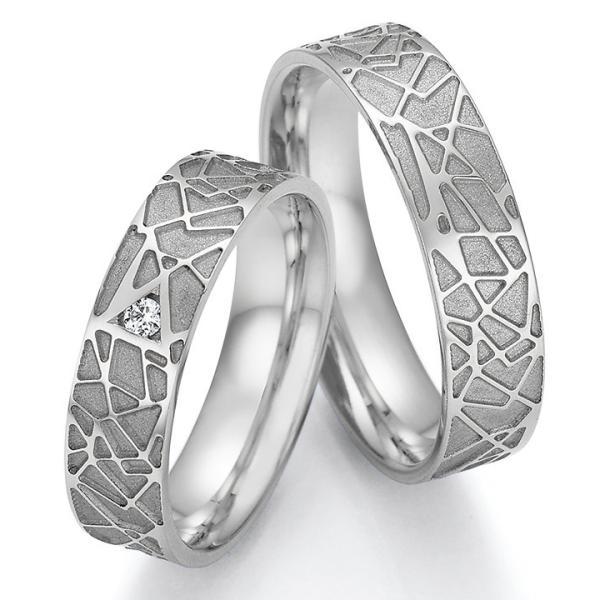 Trauringe Palladium TRS66RU66030Pd mit einem Diamanten