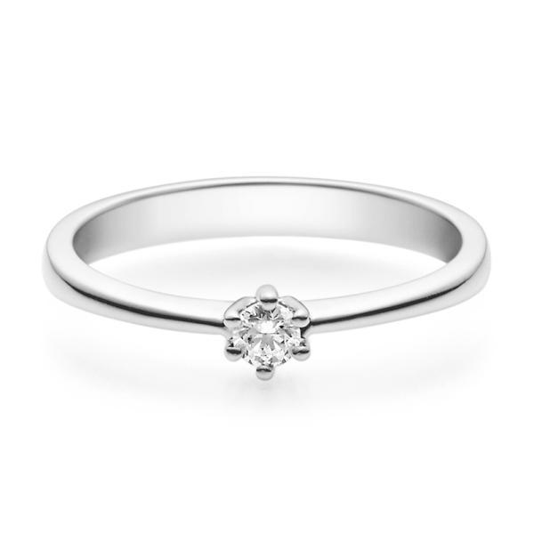 Verlobungsring 18001 Weißgold Solitär Ring 0.100 ct.