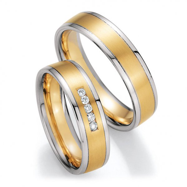 Trauringe Weißgold Gelbgold Brillant CR 66/40050 & 66/40060