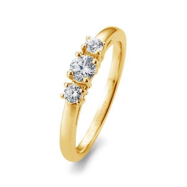 Verlobungsring Gelbgold 585 Brillant 3 Steine Krappenfassung 41/05669 / 0.390 ct. w/si