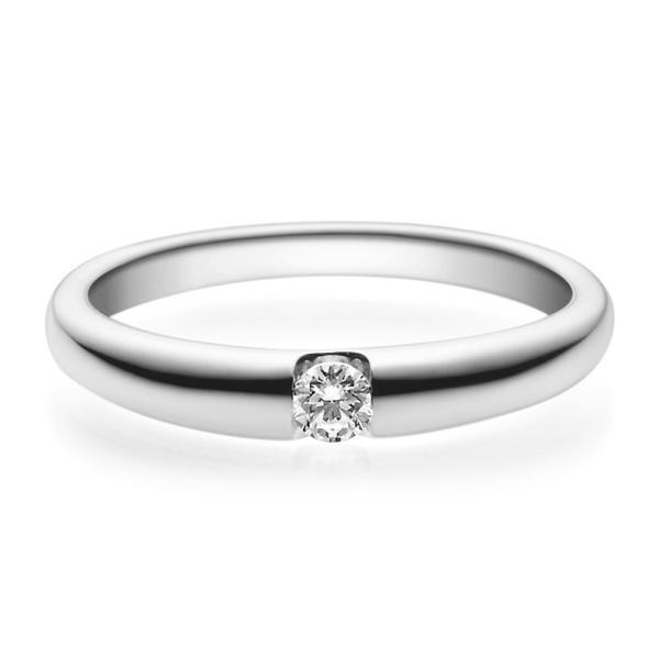 Verlobungsring 18005 Platin 950 Solitär Ring 0.100 ct.