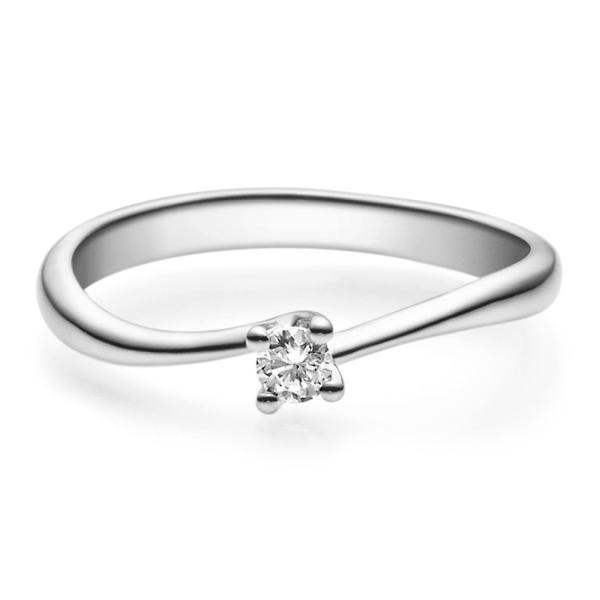 Verlobungsring 18011 Platin 950 Solitär Ring 0.100 ct.