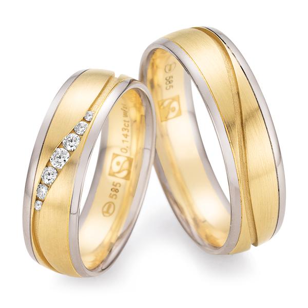 Trauringe Weißgold 585 & Gelbgold 585 Fairtrade 33/30130 & 33/30140