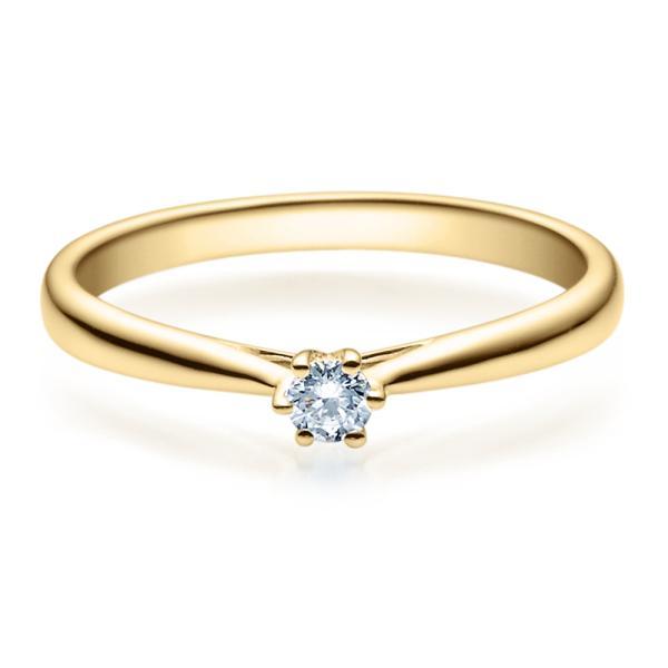 Verlobungsring 18007 Gelbgold Solitär Ring Zirkonia 3 mm