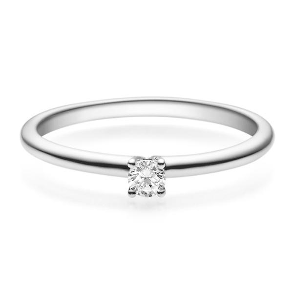 Verlobungsring 18018 Weißgold Solitär Ring 0.100 ct.