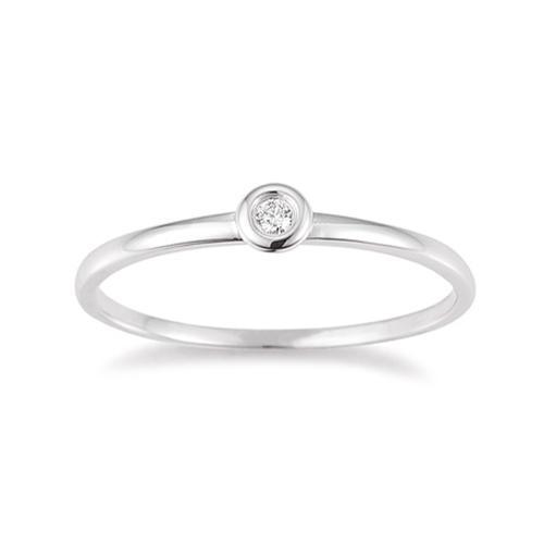 First Love Ring Weißgold Brillant Zargenfassung K10485W