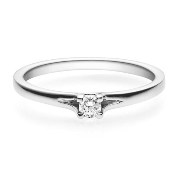 Rubin Verlobungsring 18020 Weißgold Solitär Ring 0,100 ct. tw/si