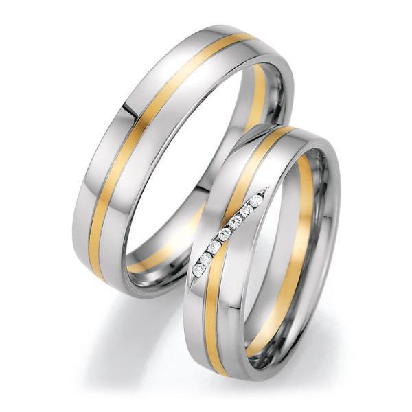 Trauringe Weißgold Gelbgold Brillant CR 66/40030 & 66/40040
