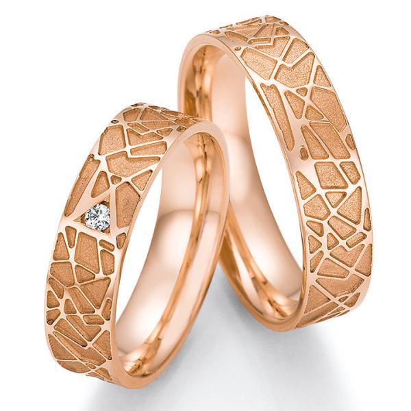 Trauringe Rotgold TRS66RU63030Rt mit einem Diamanten