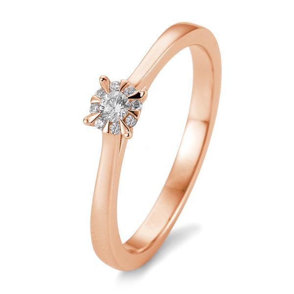 Solitär Ring Rotgold 585 - 0,104 ct - TRS05BR763R
