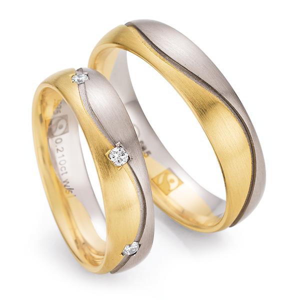 Trauringe Weißgold 585 & Gelbgold 585 Fairtrade 33/30110 & 33/30120