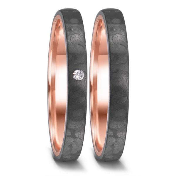 Partnerringe Rotgold Carbon Brillant TeNo 52658
