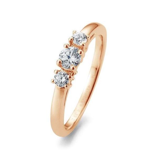 Verlobungsring Rotgold 585 Brillant 3 Steine Krappenfassung 41/05669 / 0.390 ct. w/si
