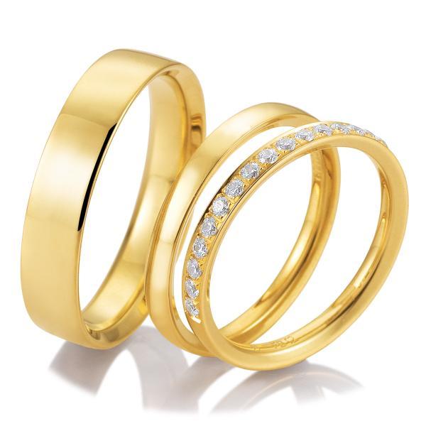 Trauringe Triset mit Memoire Ring 48/04722