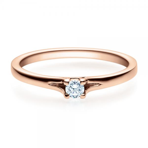 Verlobungsring 18020 Rotgold Solitär Ring 0,100 ct. tw/si