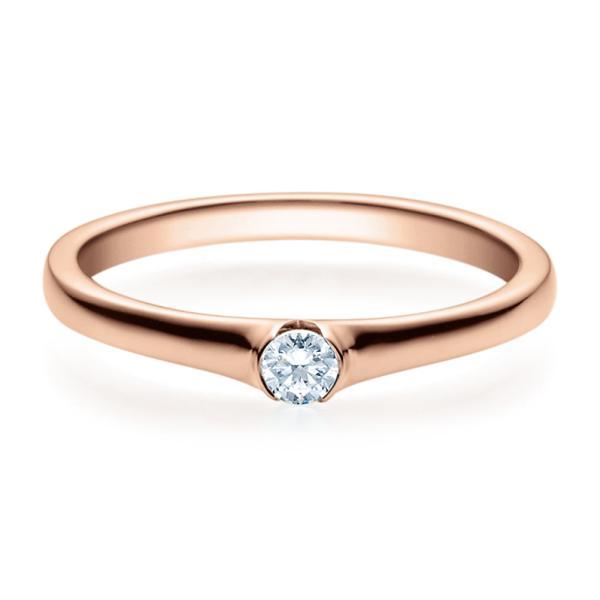 Verlobungsring 18022 Rotgold Solitär Ring 0,100 ct.