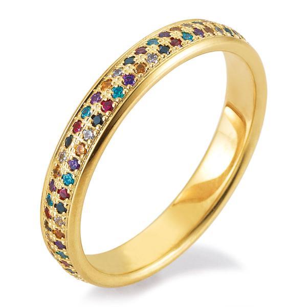 Verlobungsring Gelbgold 48/06469 mit farbigen Brillanten
