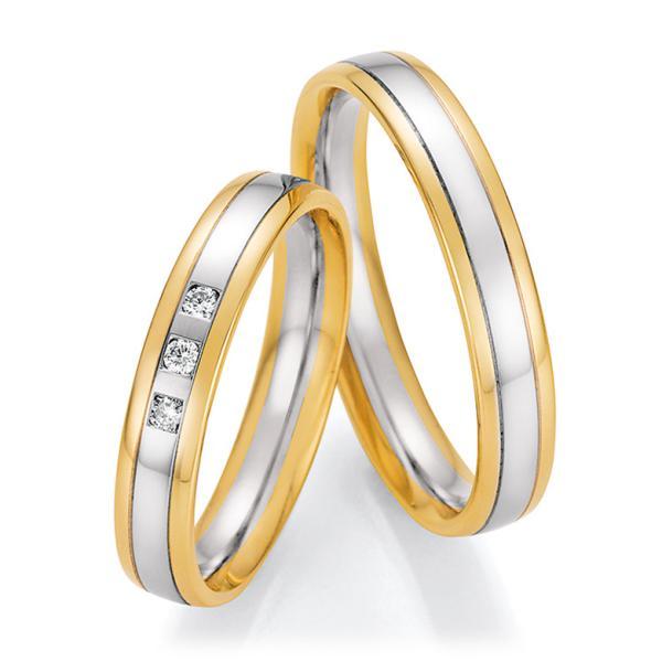 Trauringe Bicolor Gelbgold / Platin mit mehreren Diamanten TRS66RU60170GPt