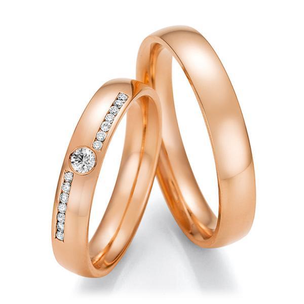 Trauringe Rotgold mit mehreren Diamanten TRS66RU660070RT