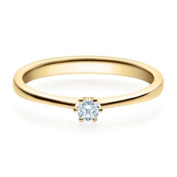 Verlobungsring 18016 Gelbgold Solitär Ring 0.100 ct.
