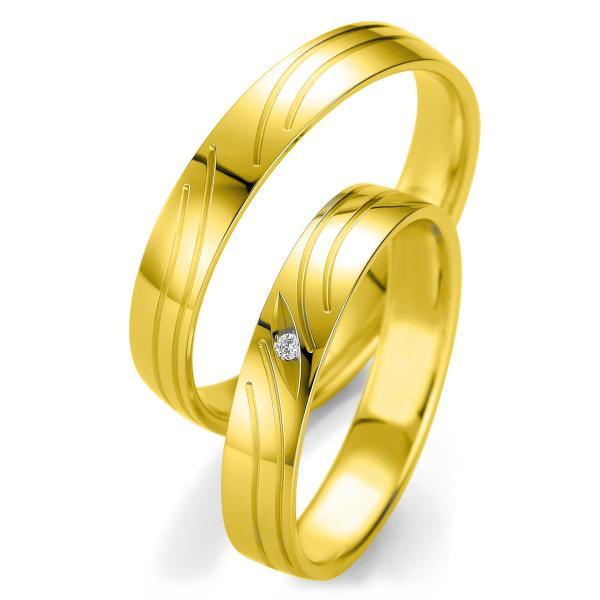 Trauringe Eheringe Gelbgold Brillant BR 48/07133 & 48/07134