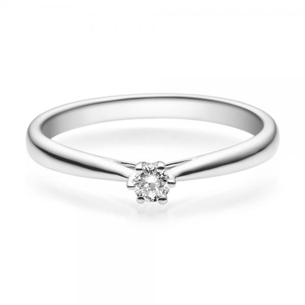 Verlobungsring 18007 Weißgold Solitär Ring 0,100 ct. tw/si