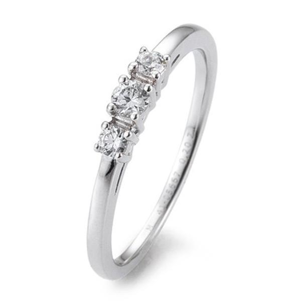 Verlobungsring Weißgold 585 Brillant 3 Steine Krappenfassung 41/05667