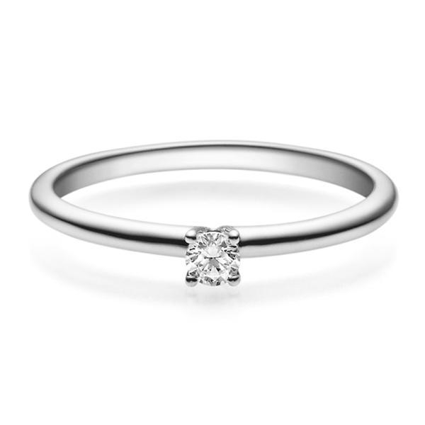 Verlobungsring 18018 Platin 950 Solitär Ring 0.100 ct.
