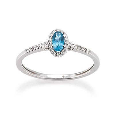Ring Weißgold 585 Topas London Blue Brillant PDO K11611R